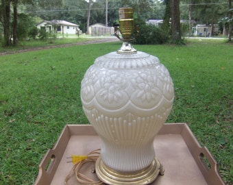 Beautiful Glass Table Lamp,White Glass Lamp,Floral Glass Lamp,Bedroom Lamp,Vintage Lamp,Home Decor,Lighting,Accurate Casting Corp. footed