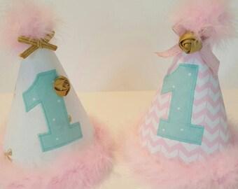 1st Birthday Hat, Party Hat, Girls Birthday Hat, Pink, Gold, Mint