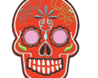 Orange Mexican Sugar Skull Iron On Patch Embroidered Applique