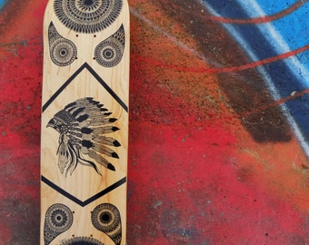 Hand drawn. unique. beautiful. sacred geometry. mandala .skate board deck.custom skateboard.indian.bespoke.eastern sapphire.