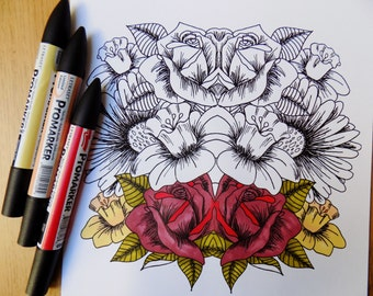 2 DOWNLOADABLE PDF flower colouring pages for adults or older children