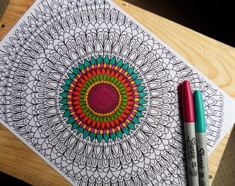 DOWNLOADABLE PDF mandala colouring page for adults or older children.