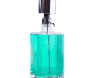 Lead Free Crystal Mouthwash Decanter With Chrome Pump Dispenser