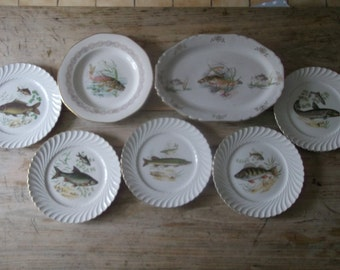 French antique fish plates and platter Porcelain dinner plates by K.G. Luneville French dining