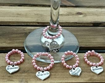 Set of 5 Wedding Wine Charm, Pink Wine Charm, Wine Glass Decor, Wine Glass Charm, Personalized Wine Charm, Wedding Party Gift