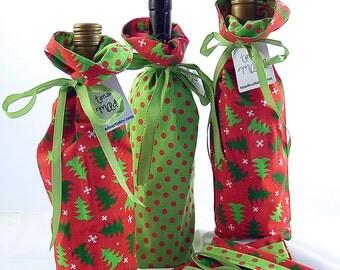 Christmas Tree Wine Bottle Gift Bag - Polka Dot Lining