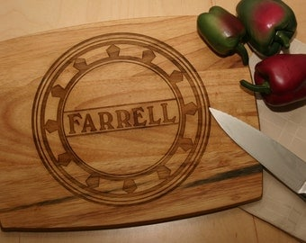 """Personalized Wood Cutting Board, Carving Board w/dripwell. Engraved Chopping Board, Personalized Wedding, Anniversary Gift  12"""" x 10"""""""