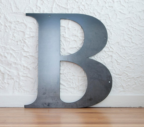 metal letters b sign 20x20 modern raw metal recycled. Black Bedroom Furniture Sets. Home Design Ideas