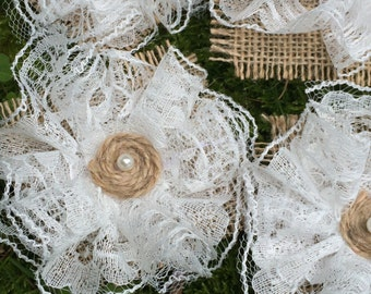 12pcs Shabby Chic Burlap lace Natural Burlap Lace Roses Flowers Rustic Wedding Decor