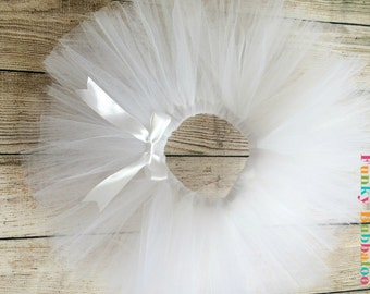 White Handmade Sewn Tutu, Babies, Toddlers and Girls, Full & Fluffy, Special Occassion, Bridesmaid, Christening, Baptism, Birthday Party