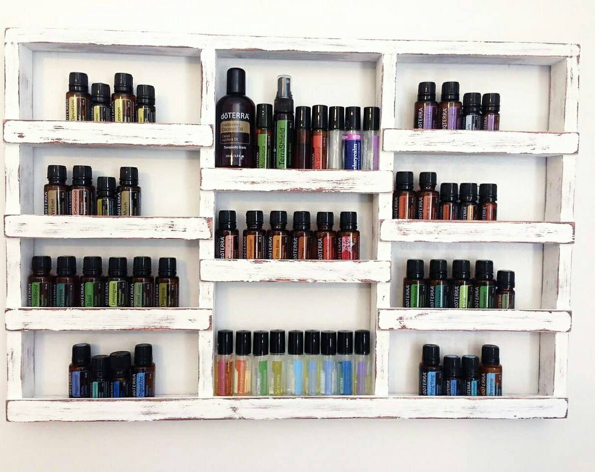 Wood Oil Shelf Essential Oils Shelf Oil Display Oil Case