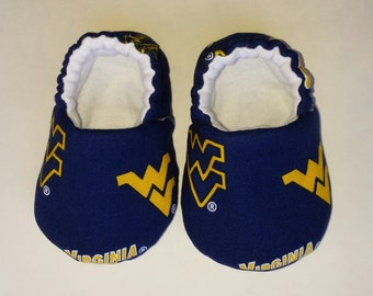 WVU Baby shoes, baby slippers, crib shoes - West Virginia University