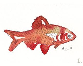 Original goldfish watercolour illustration postcards 4 x 6 inches