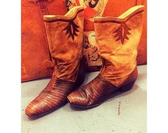 Beautiful Women's Vintage Suede & Lizard Cowboy Boots. Size:10