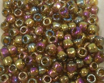 Toho Seed Bead Size 6 Gold Lustered Dark Topaz Rainbow 20gr 34288