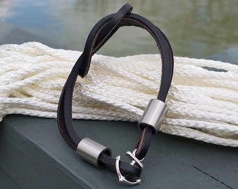 Black Leather and Stainless Bracelet With Anchor Clasp