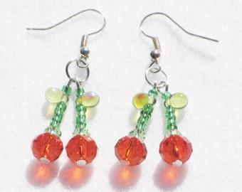 Cherry Earrings Red Earrings Kitsch Earrings Gift Fruit Earrings