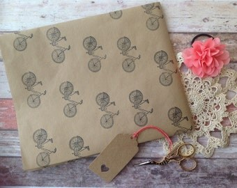 Hand stamped bike gift wrapping brown craft paper