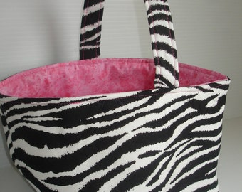 Zebra Print Fabric Bin - Pink and Black Storage Bin - Zebra Print Easter Basket - Trinket Basket