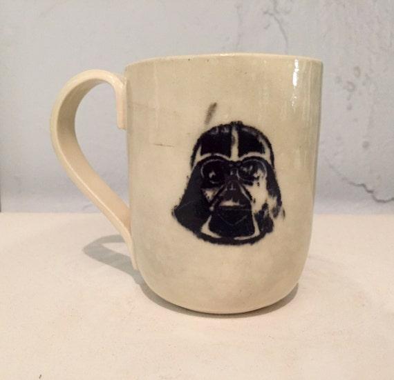 Handmade ceramic mug- darth vader- starwars themed - coffee cup - half price!