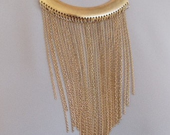 Gold Fringed Chain Statement Necklace