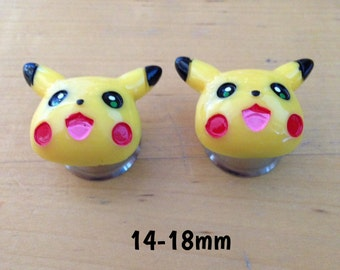 14mm-16mm-18mm Pikachu Pokemon plugs for stretched ears *gamer geek nerd*