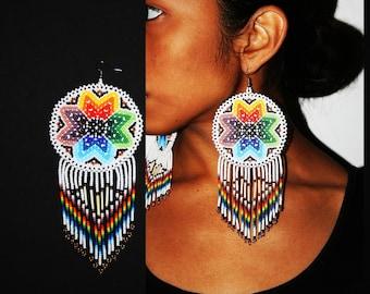 Native American Beaded Earrings, Porcupine Spine Large Medallion Earrings, Huichol Earrings, Huichol Jewelry, Statement Earrings