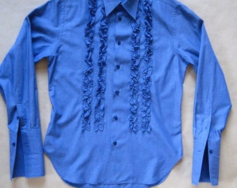 10% off #vtg PAUL SMITH #  ruffle shirt # mild  blue- violet cotton # exc # size MEDIUM