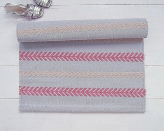 Grey, Pink, Beige Rug, Flatweave Cotton Rug, Arrow Rug, Light Grey Rug, Handmade, Reversible, Woven on the Loom, Made to Order
