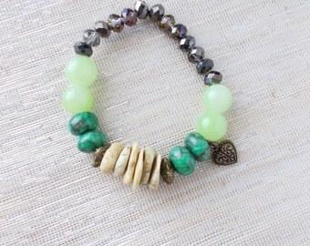 8128JB - Beach Vibes Bracelet, bright jewelry, chunky bracelet, statement jewelry, bohemian bracelet, gift idea, green jewelry, green tones