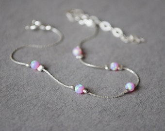 Opal bracelet. Sterling silver bracelet. Fire opal bracelet. Dainty bracelet Dainty silver bracelet. Valentine Day gift. Minimalist bracelet