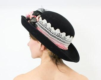 80s Black Wool Felt Hat   Flower and Lace Headband   Linda Madden, California