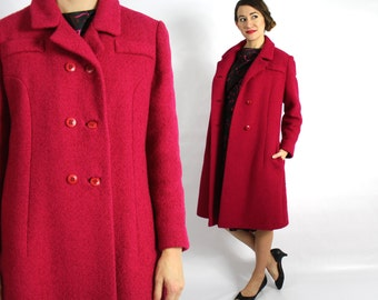 60s Raspberry Red Wool Coat | Double Breasted Magenta Coat | Bromleigh New York | Large