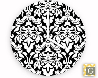 Wall Clock by GABBYClocks -  Black and White Damask