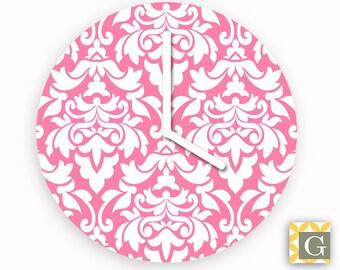 Wall Clock by GABBYClocks - Damask Pink