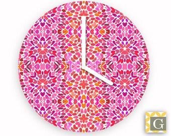 Wall Clock by GABBYClocks - Fuchsia Flurry No. 2