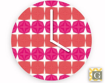 Wall Clock by GABBYClocks - Pink Geometric Petite