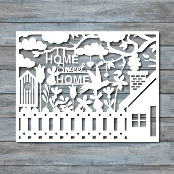 home sweet home paper cut template pdf printable by zavyanne8. Black Bedroom Furniture Sets. Home Design Ideas