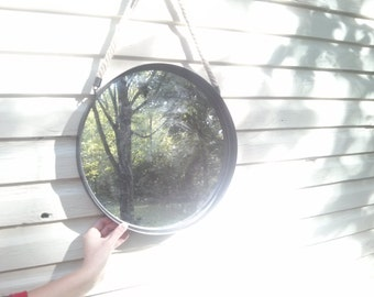 Antiqued Circular Mirror with Rope