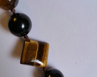 Tiger's Eye and Onyx Necklace