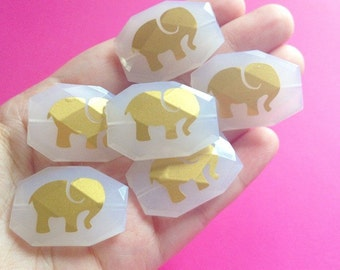 Gold Elephant Bangle Beads on Snow White Beads! Faceted, Gorgeous Beads