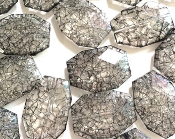 Smokey Gray Dinosaur Egg Clear Faceted 35mm acrylic beads - chunky craft supplies for wire bangle or jewelry making