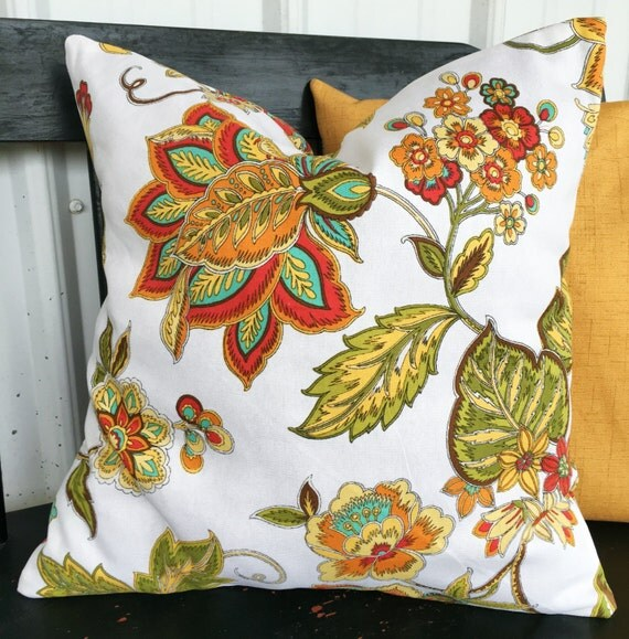 Items similar to Pillow cover 18x18 living room pillows in modern floral mustard, orange, yellow ...