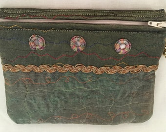 "Clutch Party Bag Mirror Embroidery Work Zip Opening Inside Pocket 8""X6.5"""