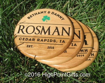 Custom Wood Coaster - Wood Coaster - Personlized Wood Coaster - Engraved Drink Coaster - Set of 4