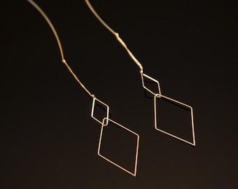 Dainty Diamond Shape Dangling earrings