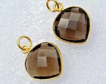16mm Gold Plated Bezel Set Natural Smoky Quartz Heart Pendant, Single Bail Gemstone Pendant, Station Pendant, Charm 1Pc