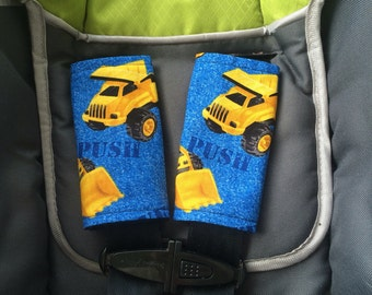 Dump truck tractor seat belt covers, baby bib, baby boy clothes, car seat belt covers