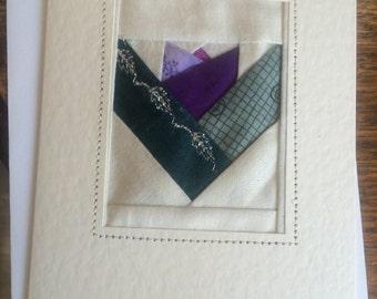 Crocus patchwork greetings card