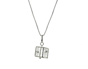 Sterling Silver Square Celebrity Necklace  Free Shipping ! Free Gift Bag !